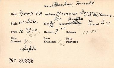 Index card for Harold Bashar