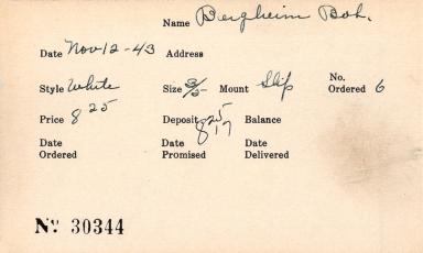Index card for Bob Bergheim