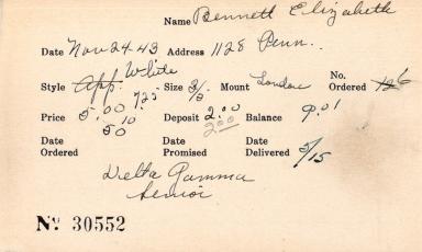 Index card for Elizabeth Bennett