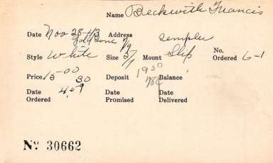 Index card for Francis Beckwith