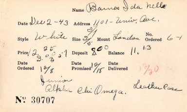 Index card for Ida Nelle Barnes