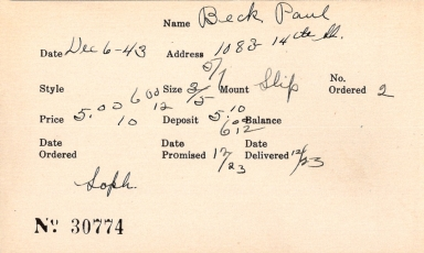 Index card for Paul Beck