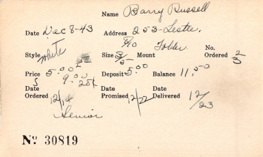Index card for Russell Barry