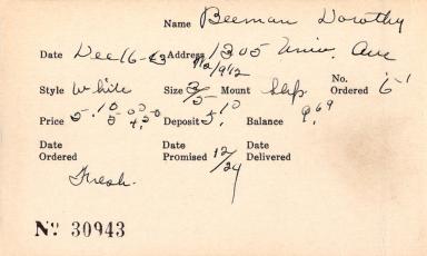 Index card for Dorothy Beeman