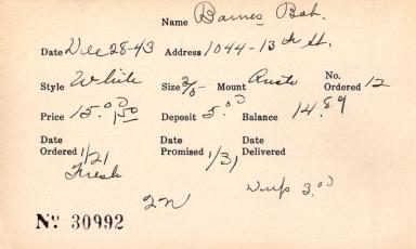 Index card for Bob Barnes