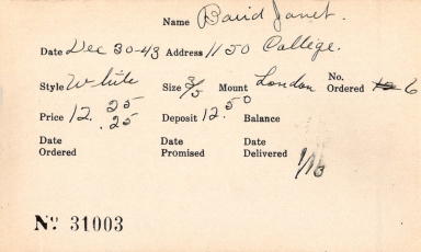 Index card for Janet Baird