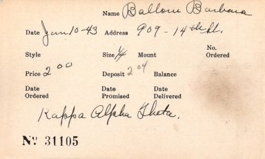 Index card for Barbara Ballow