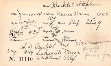 Index card for Stephen Bechtel