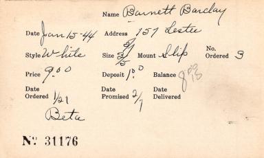 Index card for Barclay Barnett