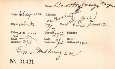 Index card for William Bevan