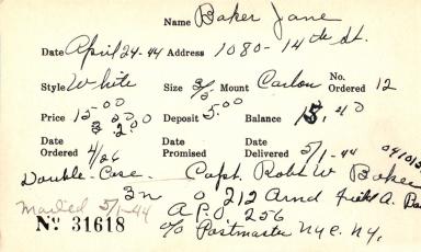 Index card for Jane Baker