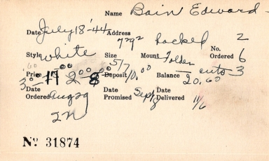 Index card for Edward Bain
