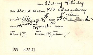 Index card for Shirley Berry