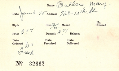 Index card for Mary Ballou