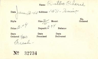 Index card for Cherie Bilbo