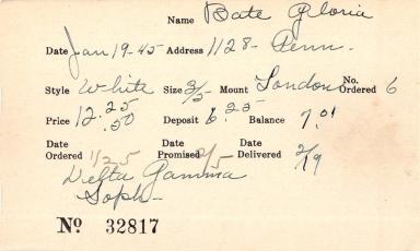 Index card for Gloria Bate