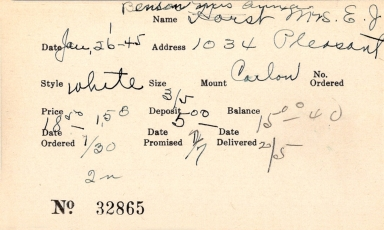Index card for Anna Benson and Mrs. E. J. Horst