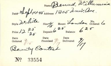 Index card for Willamina Benad