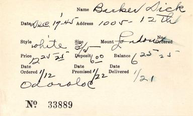 Index card for Dick Barker