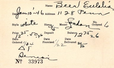Index card for Eulalia Beer