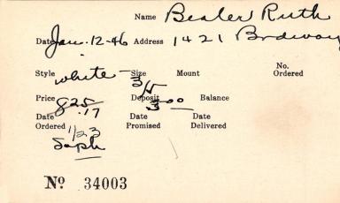 Index card for Ruth Bealer