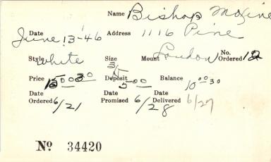 Index card for Maxine Bishop