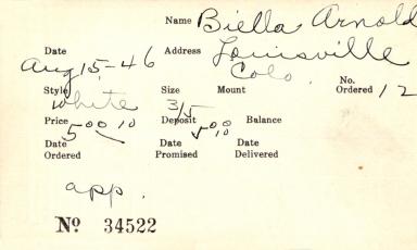 Index card for Arnold Biella