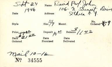 Index card for John Barker