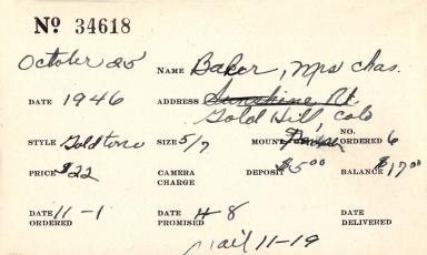 Index card for Mrs. Charles Baker