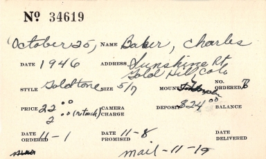 Index card for Charles Baker