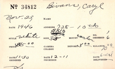 Index card for Caryl Bivans