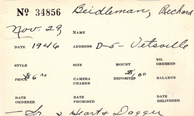 Index card for Richard Beidleman