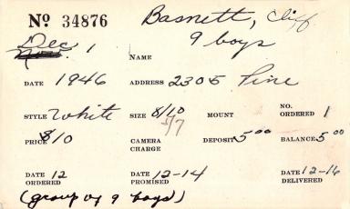 Index card for Cliff Basnett