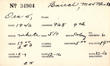 Index card for R. [N.?] Baird and Mrs. R. [N.?] Baird