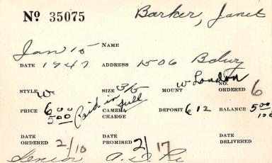 Index card for Janet Barker