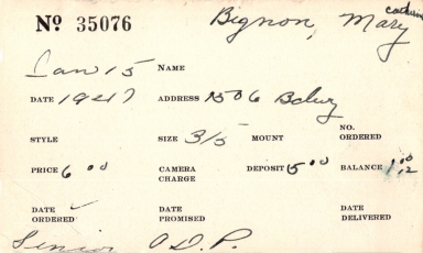 Index card for Mary Catherine Bignon
