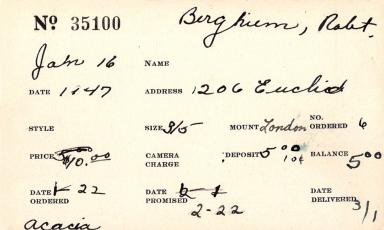 Index card for Robert Bergheim