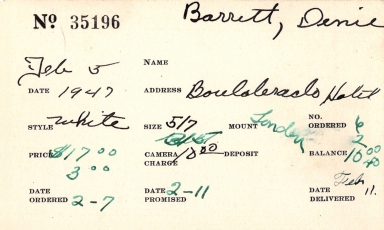 Index card for Denie Barrett