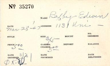 Index card for Edwin Bixby