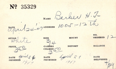 Index card for H. [F.?] Barker