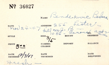 Index card for Barbara Bendekovic