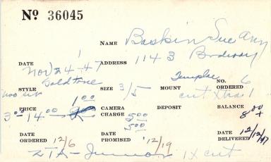 Index card for Sue Ann Baskin