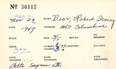 Index card for Robert Irving Bear