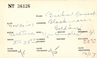 Index card for Ernest Biehn