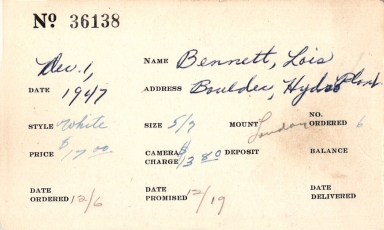 Index card for Lois Bennett