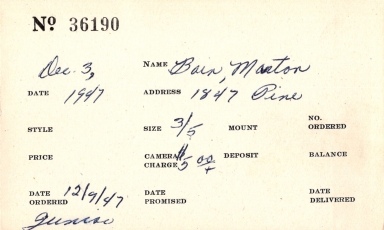 Index card for Morton Bain