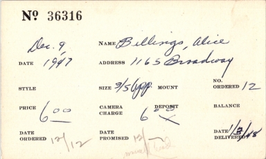 Index card for Alice Billings