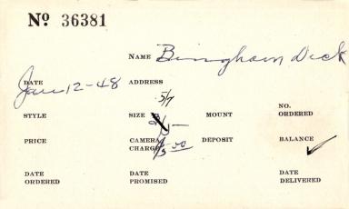 Index card for Dick Bingham