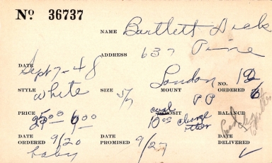 Index card for Dick Bartlett