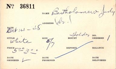 Index card for Judy Bartholomew